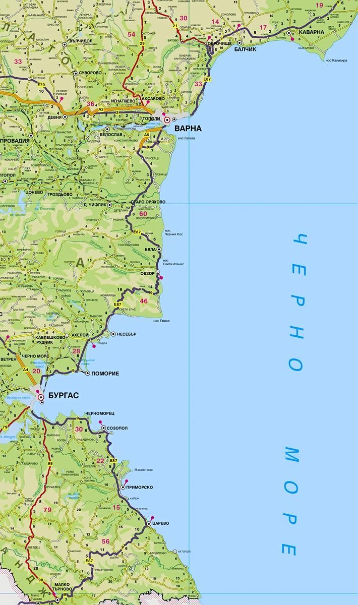 карта болгарское море