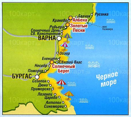 карта море в болгарии